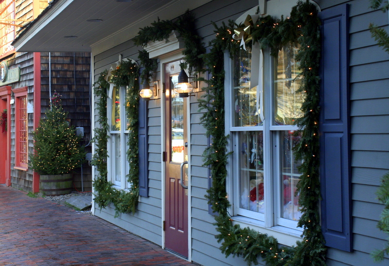 One of the many festively decorated shops in Kennebunkport, ME