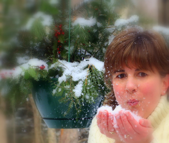 Having a little fun with snowflakes and my self-timer...