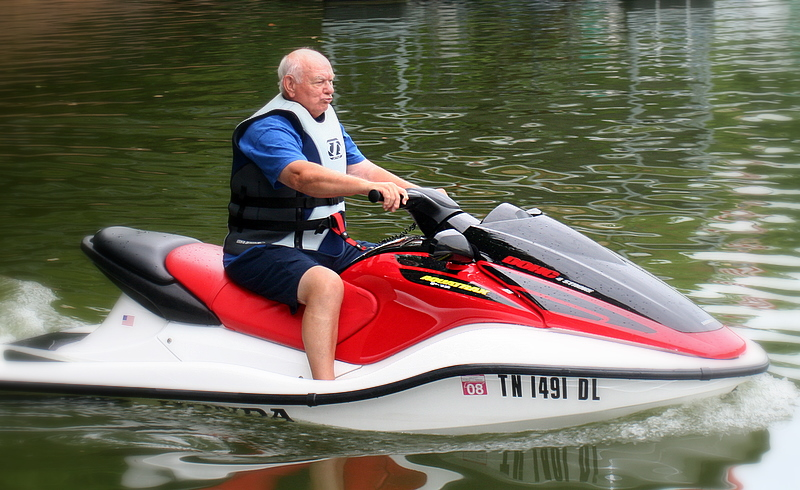Dad trying out the jet ski at my brother's lake house in Tennessee...