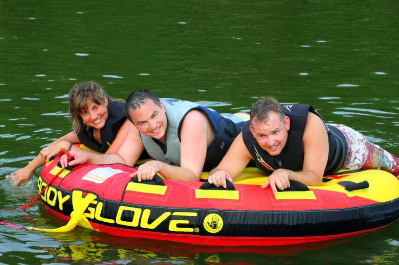 Went tubing with my two brothers...  here we are in the calm before we hit the open waters...