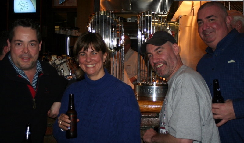 Enjoying a few beers with the World Series trophies next to us on the bar at T's Pub...