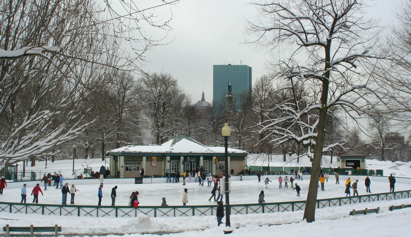 Skaters on Boston Common's Frog Pond