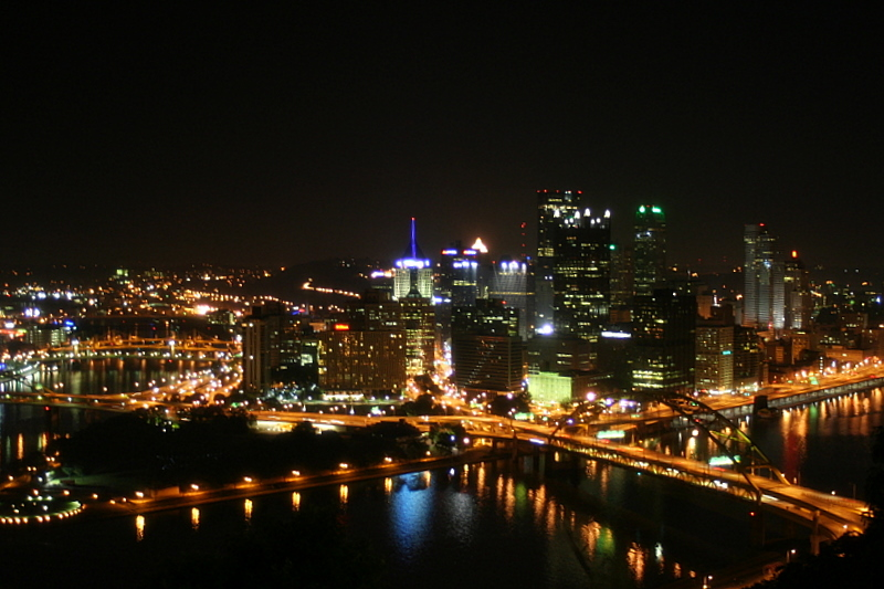 Downtown Pittsburgh's skyline at night...