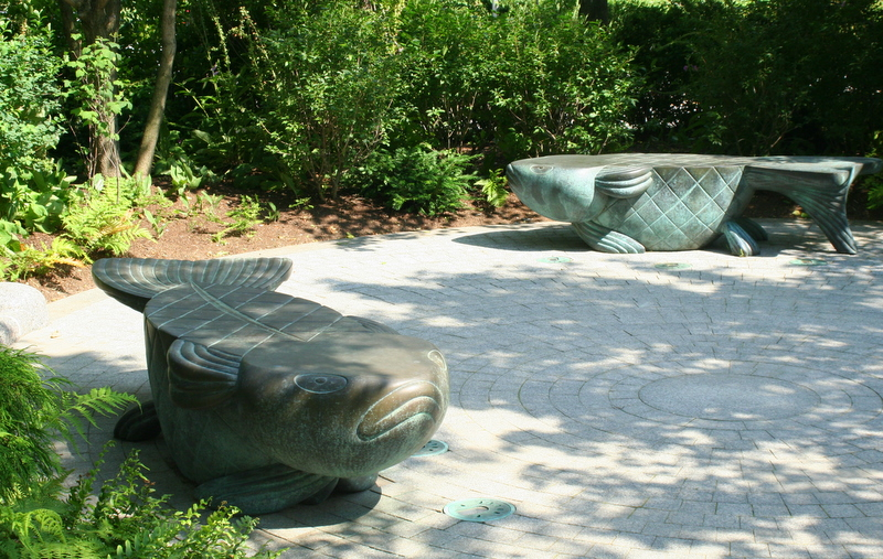 Fish shaped benches in Boston's Seaport district