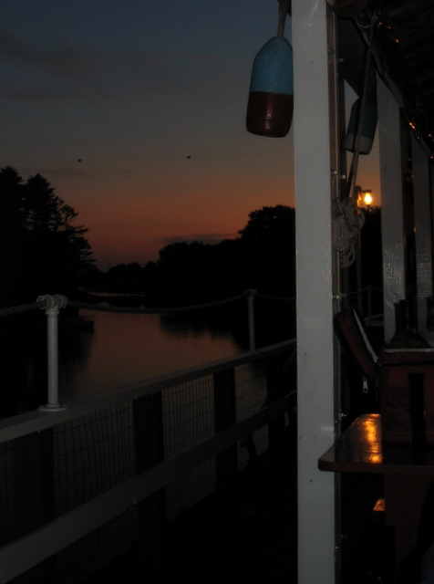 View of the sunset from our table at Chauncey Creek Lobster Pier in Kittery, ME