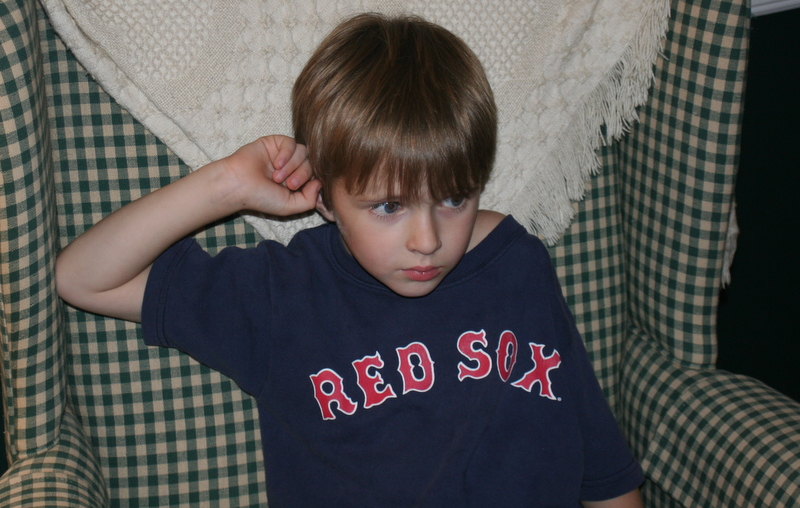 A very serious Sox fan watching the start of last night's game...