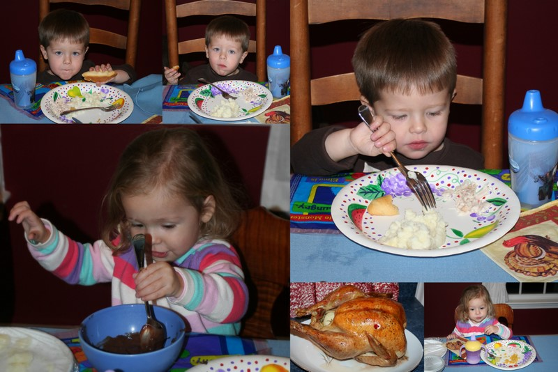 Jack and Emma enjoying Thanksgiving dinner...