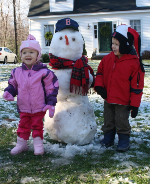 Emma and Jack's first snowman!