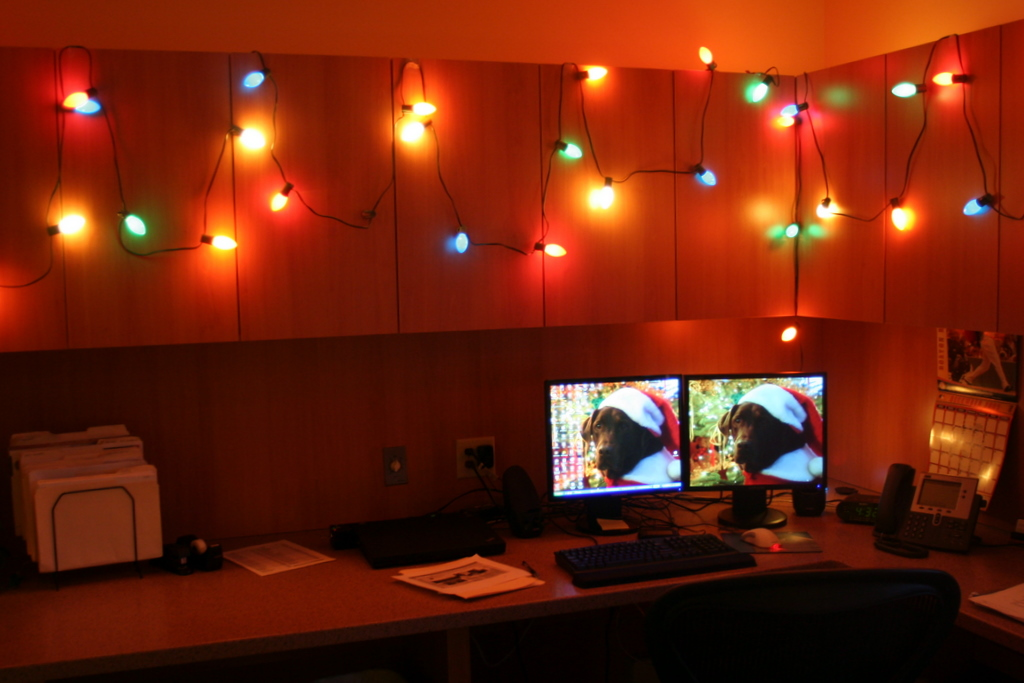 A little holiday lighting in my office... not quite up to par with those entering the decorating contest but fun nonetheless...