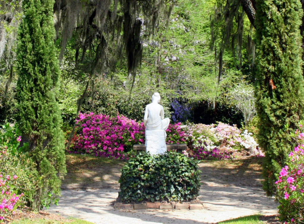 Statue in the north gardens at Middleton Place Plantation, SC