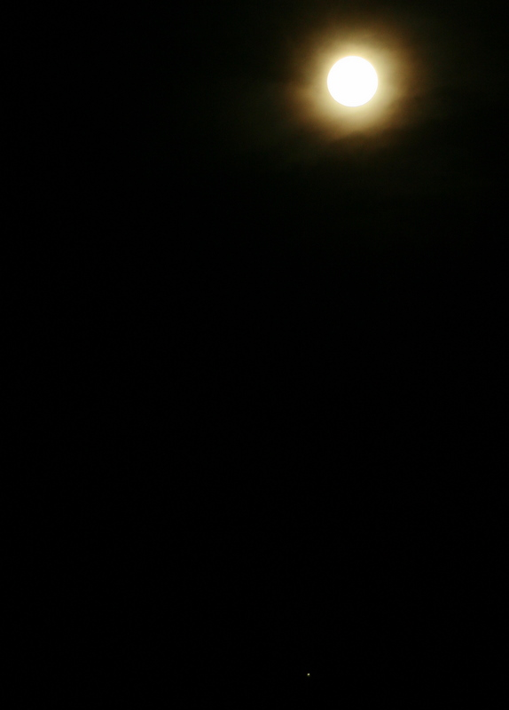 The harvest moon and Jupiter (the tiny little dot at the bottom)
