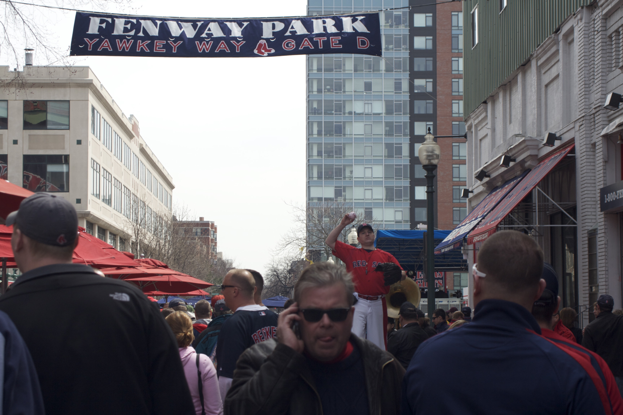 I think the smell of sausages on Yawkey Way is making this guy hungry