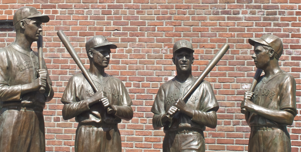 Ted Williams, Johnny Pesky, Bobby Doerr and Dom DiMaggio in bronze