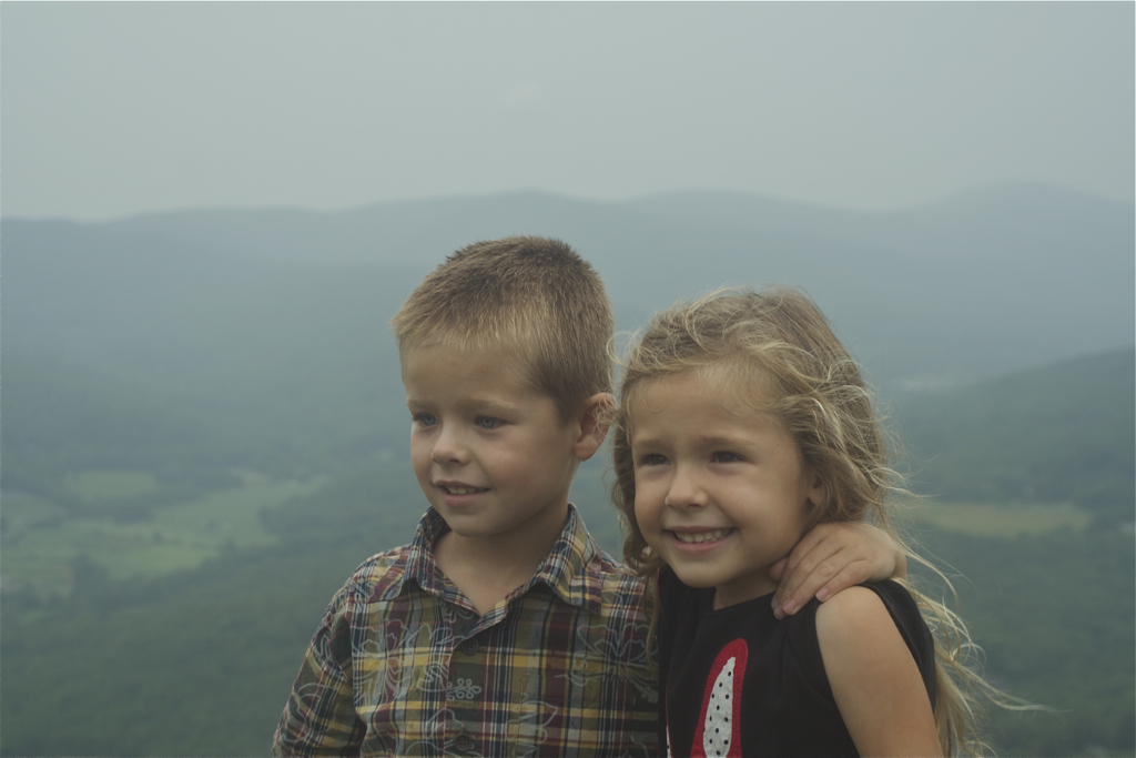 Jack and Emma  in the rain on top of Jiminy Peak at our family reunion