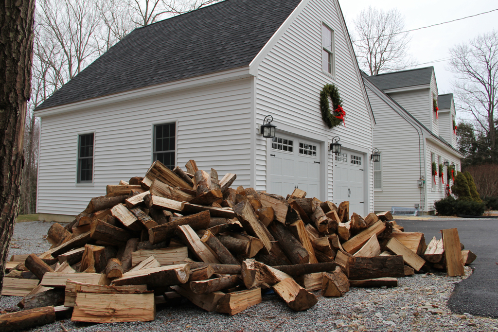 What better day to get wood delivered than the coldest day of the season so far? Lots of heat in stacking!