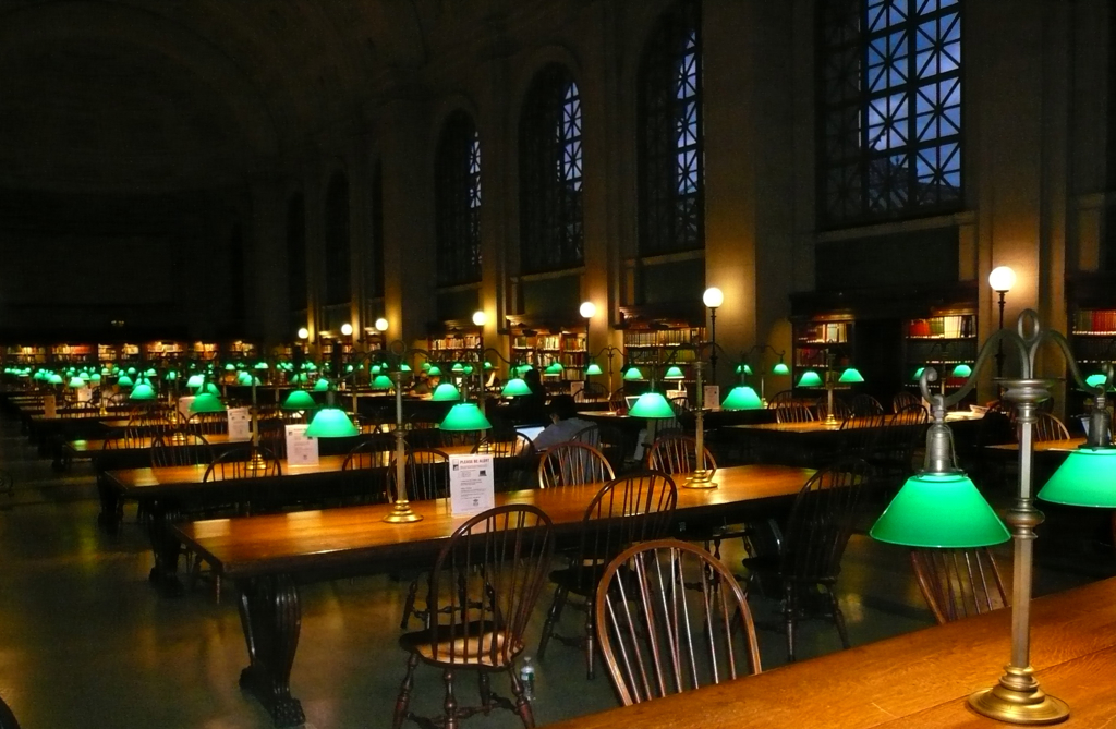 Night lighting inside the Boston Public Library