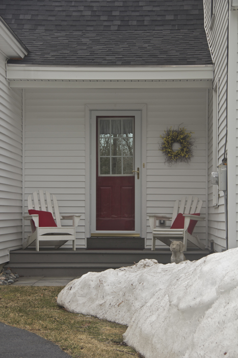 Snow piles be damned... the front porch chairs are out of winter storage.