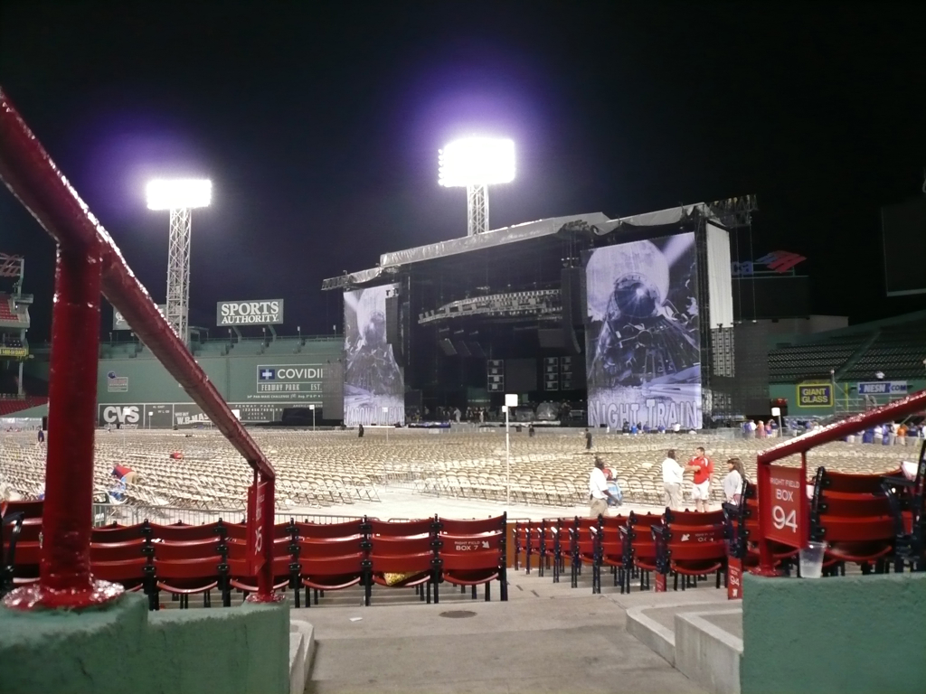Fenway stage for the Jason Aldean show.  We were 20 seats back from center stage.  Loved every minute!