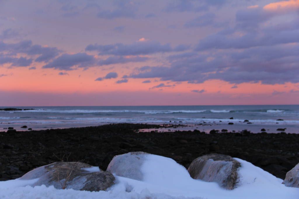 Snow, sea, sunset :)