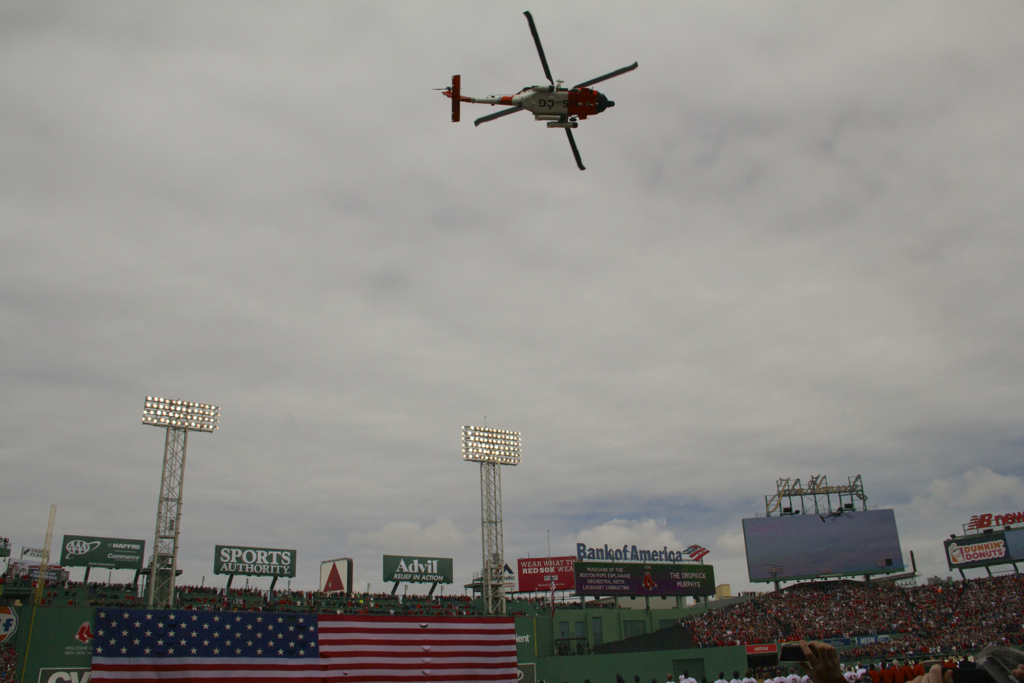 Coast Guard helicopter flyover Opening Day