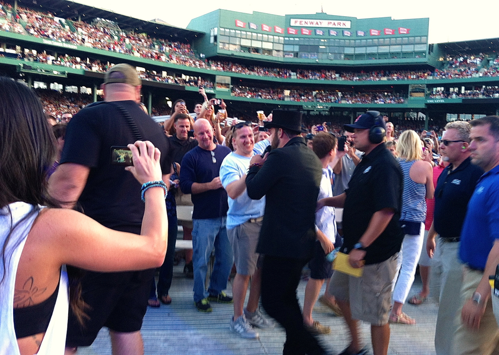 Zac Brown working the crowd at Fenway last night.  I loved every minute of the show... and our seats :)