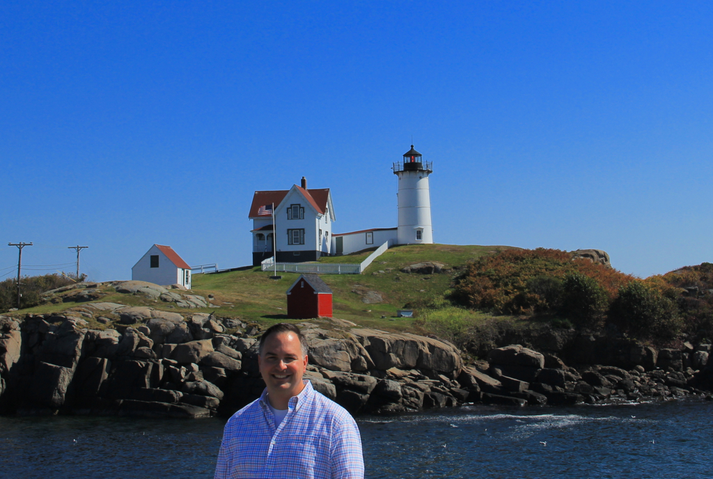 The day after our wedding...  my brother finally visits the Nubble for the first time!