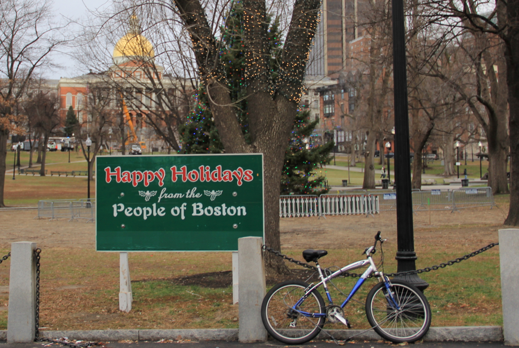 Shouldn't that bike be a sled?  Sure doesn't feel like the holidays...