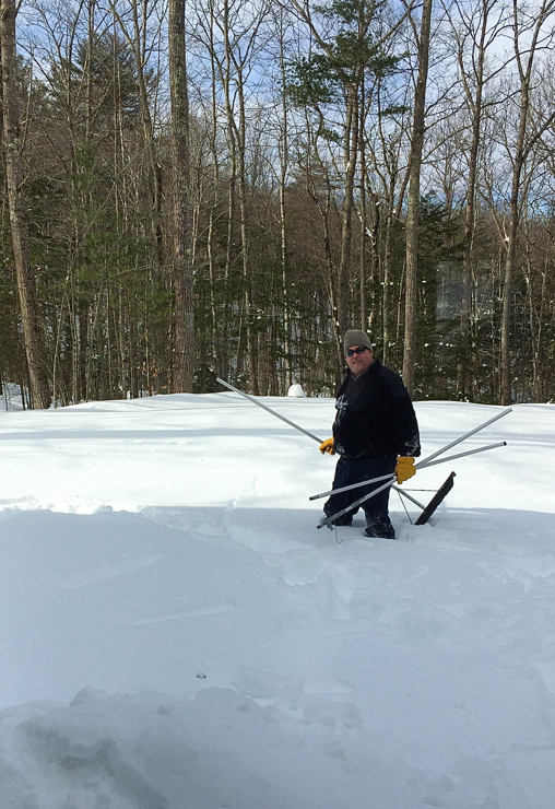 Snow wading to get some roof raking done before the next round of snow