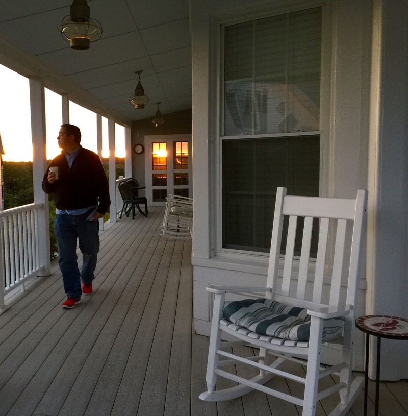 Sunset from the porch of the Topside Inn in Boothbay Harbor last weekend