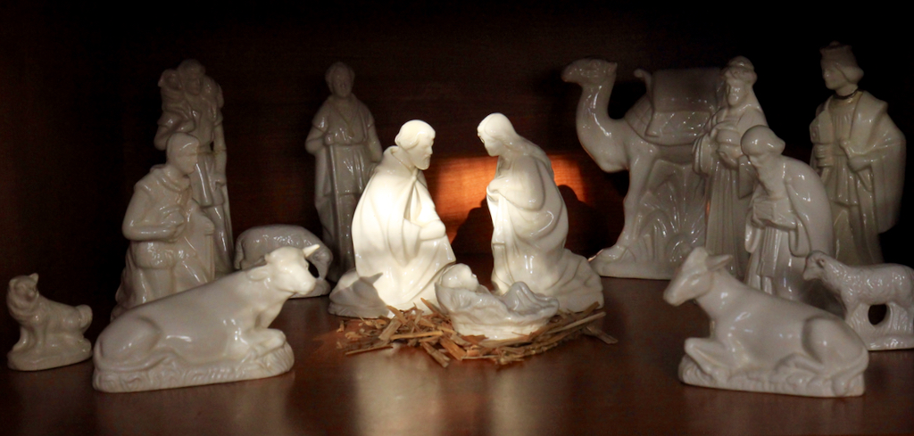 Couldn't help but notice how appropriately the sunlight was hitting our nativity set this morning...