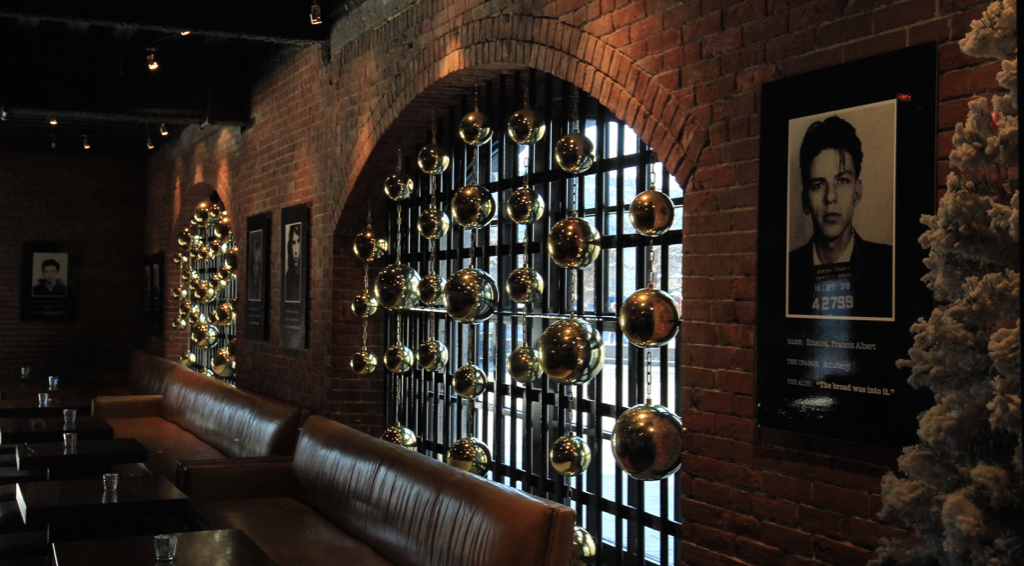 Former jail turned hotel's bar decked out for the holidays...