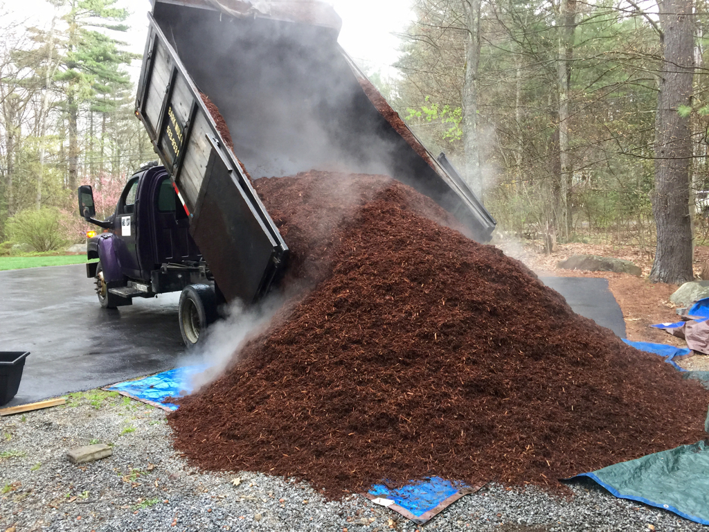 When your mulch gets delivered on a misty, cool spring day...